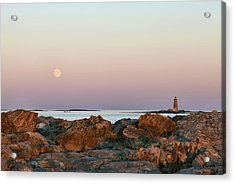 Moon And Whaleback Acrylic Print by Eric Gendron