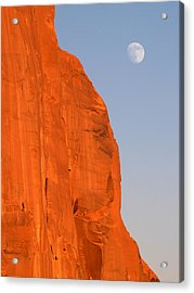 Moon At Monument Valley Acrylic Print