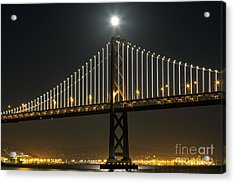 Acrylic Print featuring the photograph Moon Atop The Bridge by Kate Brown