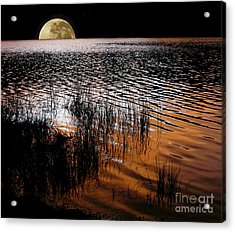 Moon Catching A Glimpse Of Sunset Acrylic Print