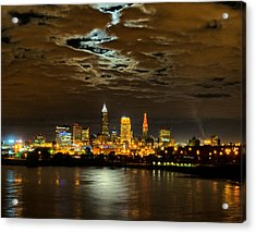 Moon Clouds Over Cleveland Acrylic Print