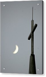 Moon Cross Acrylic Print by Beverly Hammond