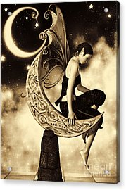 Moon Fairy Sepia Acrylic Print