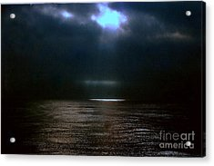 Moon Glow Over The Gulf Of Mexico Acrylic Print by Michael Hoard