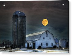 Moon Light Night On The Farm Acrylic Print by David Simons