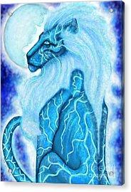Moon Lion Acrylic Print by Coriander  Shea