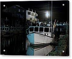 Acrylic Print featuring the photograph Moon Lit Harbor by Richard Bean
