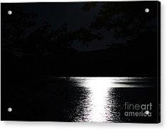 Moon On Waterton Lake Acrylic Print