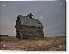 Moon Over Abandoned Iowa Corn Crib Acrylic Print