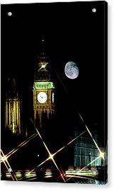 Moon Over Big Ben Acrylic Print by Robin Scagell/science Photo Library