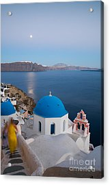 Moon Over Blue Domed Church In Oia Santorini Greece Acrylic Print
