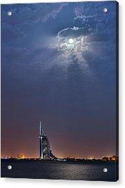 Moon Over Burj Al Arab Hotel Acrylic Print by Babak Tafreshi
