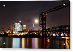 Acrylic Print featuring the photograph Moon Over Cleveland by Daniel Behm