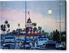 Moon Over Coronado Boathouse Acrylic Print by Mary Helmreich