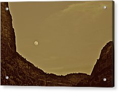 Moon Over Crag Utah Acrylic Print
