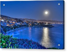 Moon Over Crescent Bay Beach Acrylic Print
