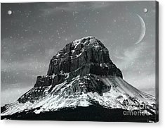 Moon Over Crowsnest Acrylic Print by Alyce Taylor