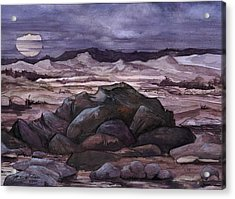 Acrylic Print featuring the painting Moon Over Desert by Mikhail Savchenko