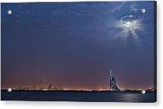 Moon Over Dubai Skyline Acrylic Print by Babak Tafreshi