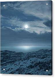 Moon Over Frozen Landscape Acrylic Print