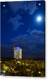 Moon Over Ft. Lauderdale Acrylic Print by Mark Andrew Thomas
