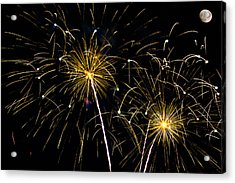 Moon Over Golden Starburst- July Fourth - Fireworks Acrylic Print