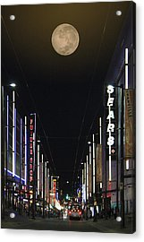 Moon Over Granville Street Acrylic Print by Ben and Raisa Gertsberg