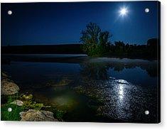 Moon Over Lake Acrylic Print by Alexey Stiop