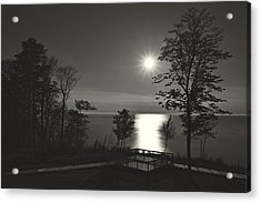 Moon Over Lake Michigan In  Black And White Acrylic Print