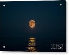 Moon Over Lake Of Shining Waters Acrylic Print by Barbara McMahon