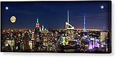 Moon Over Manhattan At Twilight Acrylic Print by Lee Dos Santos