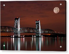 Moon Over Marine Parkway Bridge - Gil Hodges Memorial Bridge Acrylic Print by Gary Heller