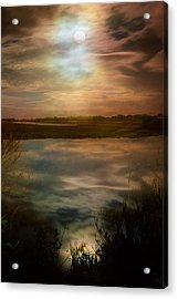 Moon Over Marsh - 35mm Film Acrylic Print by Gary Heller