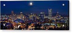 Moon Over Portland Oregon City Skyline At Blue Hour Acrylic Print