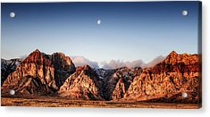 Moon Over Red Rock Canyon Acrylic Print by Michael White