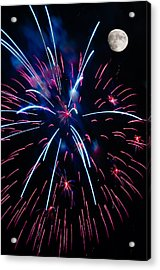 Moon Over Red White And Blue Starburst- July Fourth - Fireworks Acrylic Print by Penny Lisowski