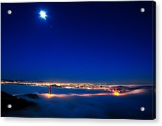 Moon Over San Francisco In Fog Acrylic Print