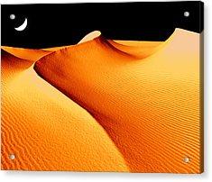 Moon Over Sand Dunes Acrylic Print