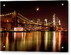 Moon Over The Brooklyn Bridge Acrylic Print