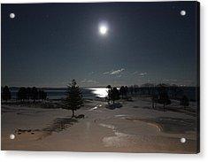 Moon Over The Samoset Acrylic Print by Jewels Blake Hamrick