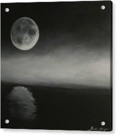 Moon Over The Shores Acrylic Print by Barbie Baughman