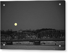 Moon Over The Steel Bridge Acrylic Print