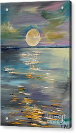 Moon Over Your Town/reflexion Acrylic Print by PainterArtist FIN