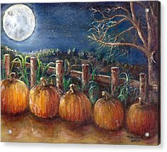 Acrylic Print featuring the painting Moon Pumpkin Harvest by Bernadette Krupa