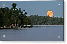 Moon Rise At The Lake Acrylic Print by Barbara West
