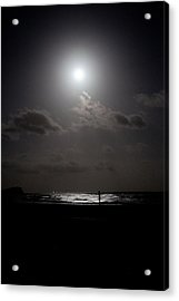Moon Rise Over Ocean Acrylic Print by Carole Hinding