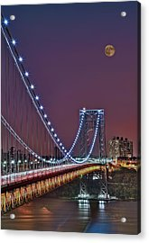 Moon Rise Over The George Washington Bridge Acrylic Print