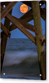 Moon Rise Under Pier Acrylic Print