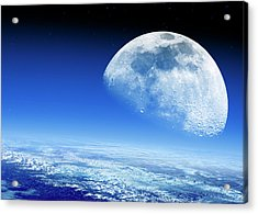 Moon Rising Over Earth's Horizon Acrylic Print by Detlev Van Ravenswaay