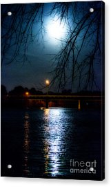 Moon Set Lake Pleasurehouse Acrylic Print by Angela DeFrias